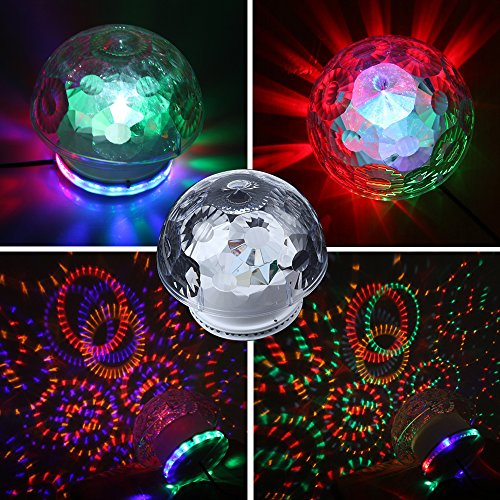 Dbpower 6-Color Rgb 48-Led Crystal Mushroom Effect Light Disco Dj Bar Stage Lighting, 18W, Smart Auto And Sound Activated