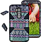 myLife Vintage Black/Striped {Classy Bohemian Design} 3 Piece Neo Hybrid Case for the for the LG G2 Smartphone (External Rubberized Snap On Hard Safe Shell Piece + Internal Soft Silicone Flexible Bumper Gel)