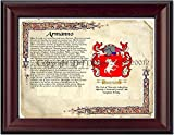 """Armanno Coat of Arms/ Family History 11"""" x 13 """" Wood Framed on Fine Paper"""