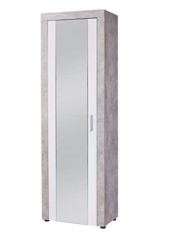 Esidra Arnold Armadio 1 Anta, Legno, Grigio, 64x37x200 cm