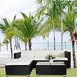 POLY RATTAN Lounge Schwarz Gartenset Sofa Garnitur Polyrattan Gartenmöbel
