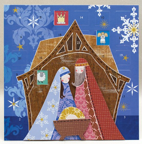 Jesus, Mary & Joseph with Layered 3D Effect Advent Calendar (layered with foam pads includes envelope): 11.75 x 11.75