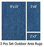 Indoor-outdoor Pacific , 3 Piece Set, Patio Rug's (8x10 Area Rug, 3x8 Runner, 2x3 Mat)