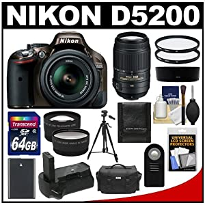 Nikon D5200 Digital SLR Camera & 18-55mm G VR DX AF-S Zoom Lens (Bronze) with 55-300mm VR Lens + 64GB Card + Case + Grip & Battery + Tripod + Tele/Wide Lenses + Filters Kit