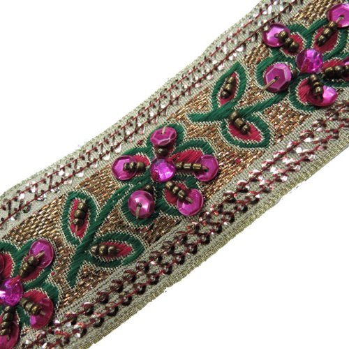 1 Yd Gold Hand Bead Sequin Pink Stone Ribbon Trim Craft