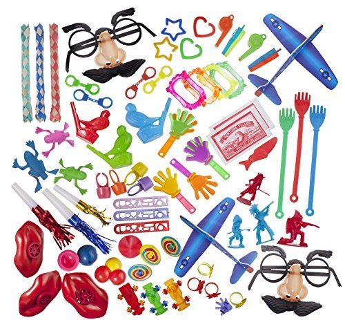 Party Favor Toy Assortment Pack of 100 Pc, Includes a Wide Range of Mid-size and Small Toys, Small Prizes, for Party Favor Bags, School Classrooms, and Carnivals, (Exclusively Sold By: Smart Novelty) (Party Favors For Kids compare prices)