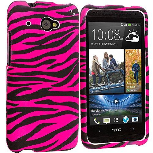 Accessory Planet(Tm) Black / Hot Pink Zebra Hard Snap-On Design Rubberized Case Cover Accessory For Htc Desire 601 Zara