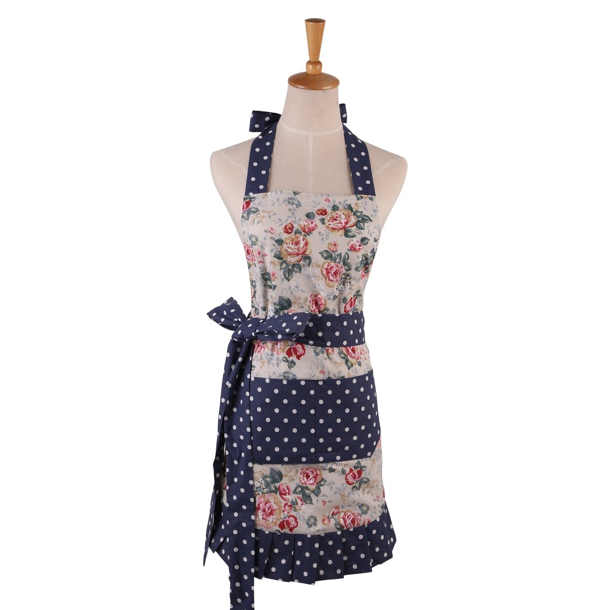 Angeka Cotton Fabric Flirty Women's Apron With Big Pocket In Front Used For Home Baking or Kitchen Cooking (White Style-1) 0