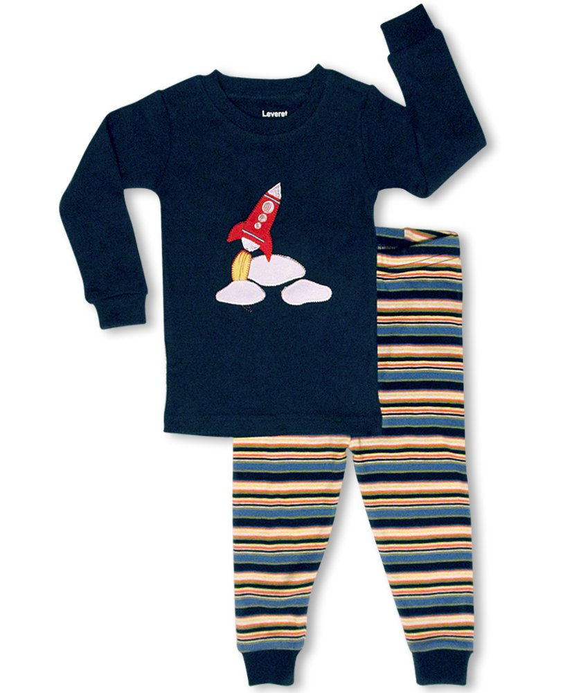 "Leveret ""Space Rocket"" 2 Piece Pajama 100% Cotton (5 Toddler) $11.99"