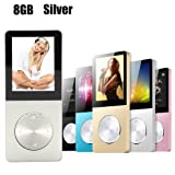 Yurieso Digital Compact Portable MP3/MP4 Player,8GB Audio Music Player,(Max Support 64GB Micro SD Card) Hi-Fi,FM,Video,Recorder,E-Book,Photo Viewer,Calendar,Alarm,External Speaker Playback Silver (Color: Silver)