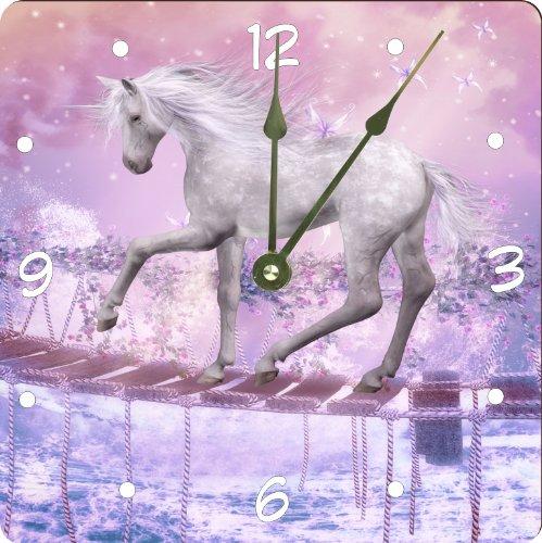 "Rikki Knighttm White Unicorn On Bridge Pink Background Design 13"" Art Wall Clock front-614332"