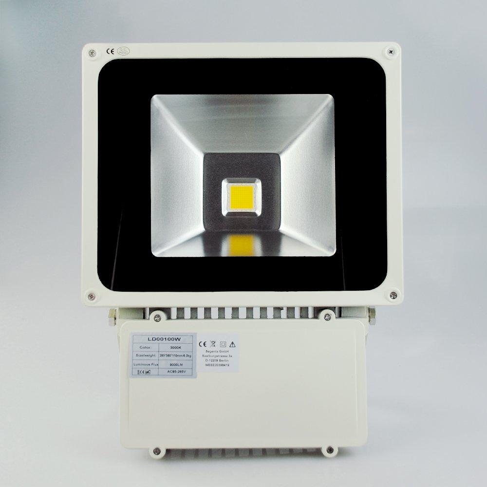 Sagenta 100W LED Strahler Warmlicht Scheinwerfer Fluter Strahler Außenstrahler Flutlicht Licht wasserdicht über 60000 Stunden Lebensdauer  BeleuchtungKundenbewertung und weitere Informationen