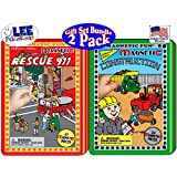 "Magnetic Fun Tin: Full Size Tins ""Fire Rescue 911"" & ""Construction"" Gift Set Bundle - 2 Pack"