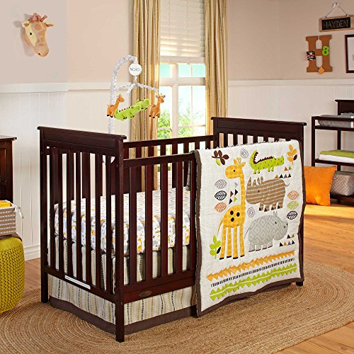 NoJo Zoobilee Crib Bedding Set, 4 Count