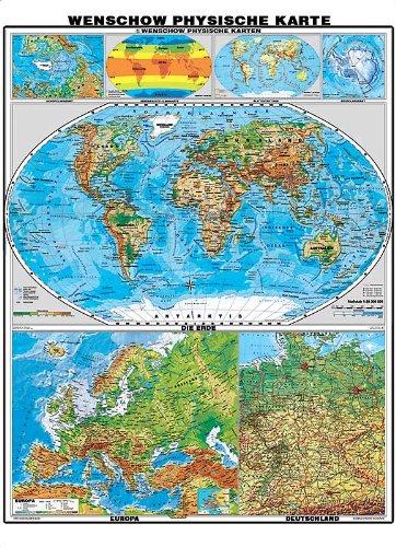 XXL 7 Karten in einer! - Die Erde, Europa und Deutschland physisch - Mit Poster Leisten (schwarz lackiert Massivholz), laminiert (reißfest, beschreib- und abwaschbar)