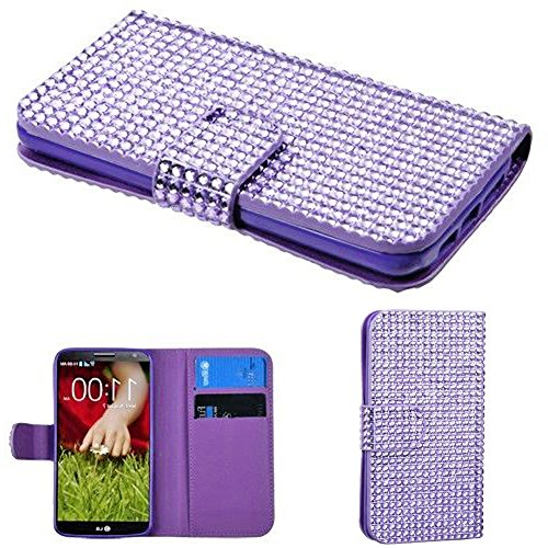 Mylife Medium Purple Crystal {Glamorous Design} Faux Leather (Multipurpose - Card, Cash And Id Holder + Magnetic Closing) Folio Slimfold Wallet For The Lg G2 Smartphone (External Textured Synthetic Leather With Magnetic Clip + Internal Secure Snap In Clos