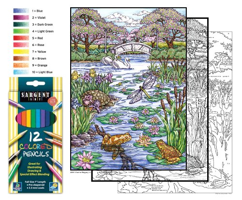Color By Number Poster Set - Pond Life - Includes 12 Coloring Pencils