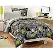 Extreme Skateboarding Boys Gray Comforter Set with 180 TC Sheets