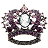 Vintage Style Purple Cameo Crown Crystal Pin Brooch thumbnail