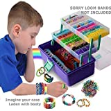 Loom Lover - Rainbow Organizer and Shopkins Compatible Storage Case. Purple/Sage. Fits Rainbow Loom. Kids Art and Craft Container. High Top. Deep Box. 2 Fold-out Trays. 2 Cool Work Mats. By Felix and Wise