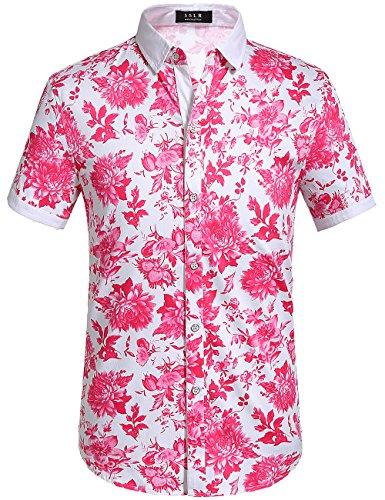 SSLR Men's Flower Buttondown Short Sleeve Shirt (X-Large, Fuchsia)