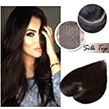 Middle Part Human Hair Crown Topper Clip Toupee Wiglet Hairpieces for Women with Thinning Hair Hand-made Silk Base at Middle&PU Round Clips in Top Cover (6