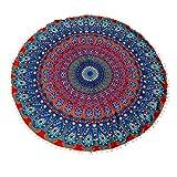 Cinidy Round Large Mandala Floor Pillows Round Bohemian Meditation Cushion Cover Ottoman Pouf