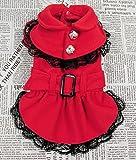 Dogloveit Dog Woolen Fabric Dress Pet Dog Cat Winter Clothes (Red, S)