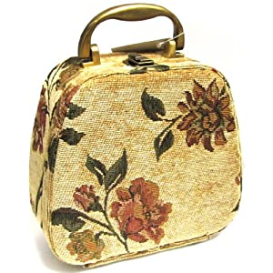 MWW Market Antique Floral Tapestry Cosmetic Travel Bag Case Tote - 8.5 X 8.5 X 4 Inches