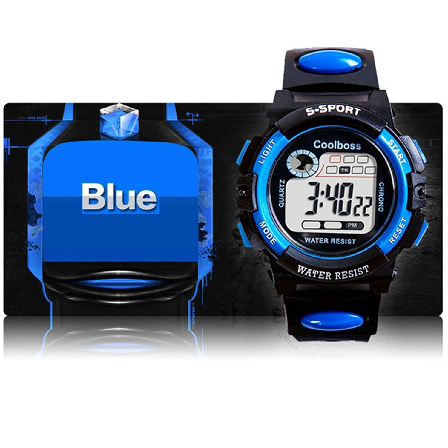 BoZZ CX0118 Multifunction 7-Color Led Light Digital Waterproof Sport Watch (Blue,For Over 10 Years Old)