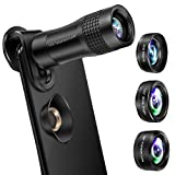 Phone Camera Lens, OYRGCIK 4 in 1 Phone Lens Kit 14X Zoom Telephoto Lens with Telescope, 20X Macro Lens, 120° Wide Angle Lens, 198° Fisheye Lens Compatible with iPhone X XS Max 8 7 Plus Samsung S10 (Color: 4 in 1 Cell Phone Lens Kit)