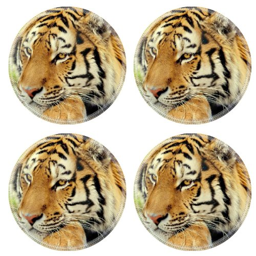 Tiger Wildlife Wildness Cat Animal Predator Round Coaster (4 Piece) Set Fabric Rubber 5 Inch Size Liil Coaster Cup Mug Can Water Bottle Drink Coasters Stain Resistance Collector Kit Kitchen Table Top Desk front-778117