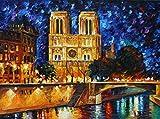 Leonid Afremov Original Image From Painting Notre Dame De Paris Print On Artistic Cotton Canvas, Size: 30