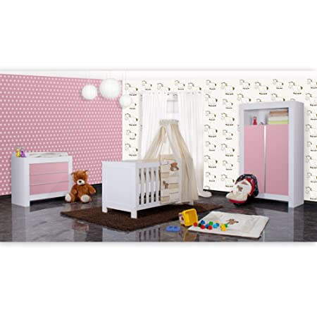 Babyzimmer Felix in weiss/rosa 19 tlg. mit 2 turigem Kl + Prestij in beige