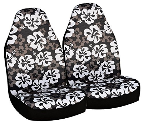 Allison 67-0346BLK Black Hawaiian Print Universal Bucket Seat Cover - Pack of 2 (Seat Cover Allison compare prices)