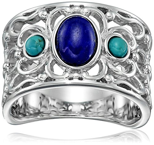 Sterling Silver Synthetic Compressed Turquoise and Lapis Filigree Band Ring