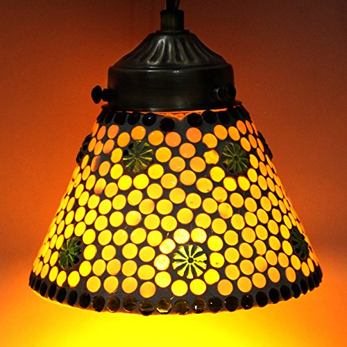 EarthenMetal Handcrafted Lamp Shade Shaped White Polka Design Glass Hanging Light