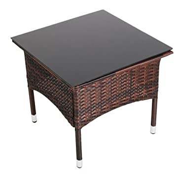 Miadomodo table table basse de jardin terrasse couleur marron marron - Table basse terrasse ...