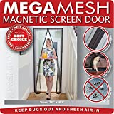Magnetic Screen Door - Heavy Duty Mesh & Velcro Fits Doors Up to 34