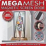"Magnetic Screen Door -Heavy Duty Mesh & Velcro Fits Doors Up to 34""x82"" MegaMesh Comes With a 12 Month Warranty"