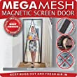 "Magnetic Screen Door - Heavy Duty Mesh & Velcro Fits Doors Up to 34""x82"" MegaMesh Comes With a 12 Month Warranty"