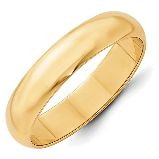 14ct Gold 5mm Half-Round Wedding Band Ring - Size O 1/2