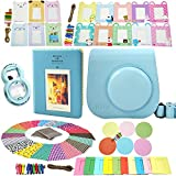 Fujifilm Instax Mini 8 Instant Camera Accessory Bundles Set (Fujifilm instax mini 8 case bag/ Instax Mini Book Album/ Mini 8 close-up lens(self-portrait mirror)/ colorful decor sticker borders/ colorful wall decor hanging frame) Set3 (Blue)