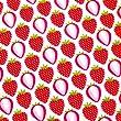0,5m Stoff Erdbeeren wei� Meterware