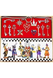 New 13pcs Kingdom Hearts 2 II Silver Necklace Pendant set Keyblade Keychain in box