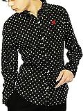 (エイト) 8(eight)4color ドット 長袖シャツ ハート刺繍 コットン 日本製 LL ブラック