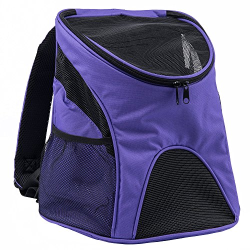 Petttom Cat Dog Pet Carrier / Mesh Pup Pack / Soft-sided Outdoor Travel Backpack for Pet (Small, Purple)