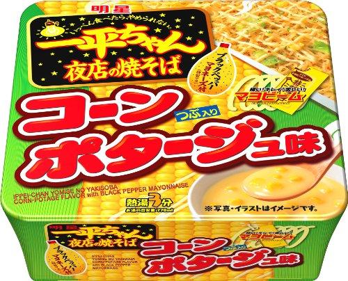 明星 一平ちゃん 夜店の焼そばコーンポタージュ味 154g×12個