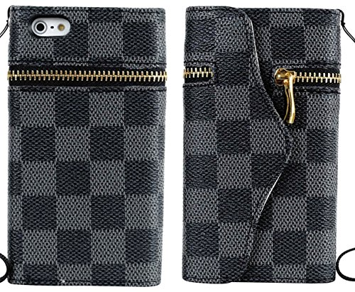Mylife (Tm) Black Checkered And Zipper Design - Textured Koskin Faux Leather (Card And Id Holder + Magnetic Detachable Closing) Slim Wallet For Iphone 5/5S (5G) 5Th Generation Itouch Smartphone By Apple (External Rugged Synthetic Leather With Magnetic Cli