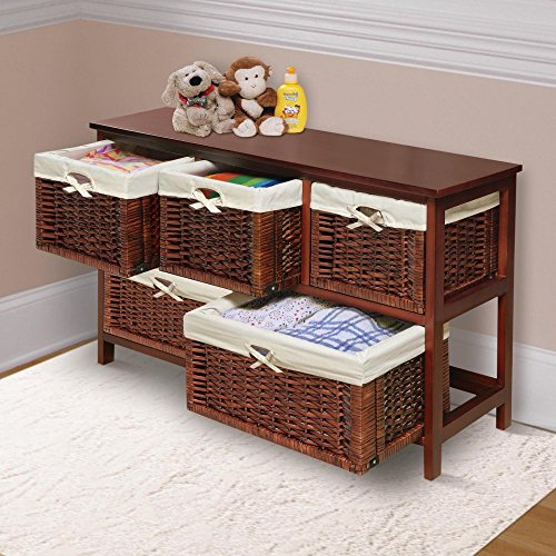 Badger Basket   Wooden Storage Cabinet With Wicker Baskets, Cherry